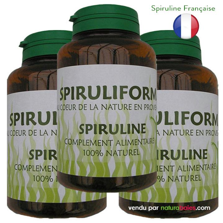 spiruline-bio-3pots-spiruliform-poudre-paillette-cure